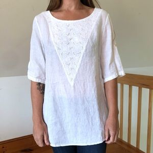 Lina Tomei White Linen Blouse w/ Lace Detailing